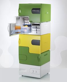Perfect for roommates!     The refrigerator consists of a base station and up to 4 stackable modules. Each module can be customized with various skins and different add-ons.