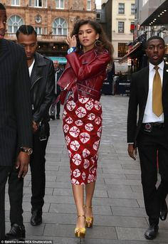 Zendaya rocks red leather jacket and figure-hugging dress | Daily Mail Online