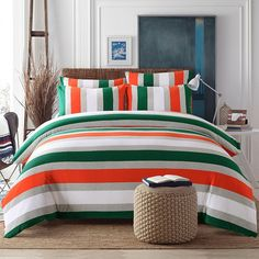 Dark Green Orange Grey And White Rugby Stripe Print Modern Chic Knitted Full Queen Size Be Luxury Bedding Master Bedroom Luxury Bedding Sets Cheap Bed Sheets