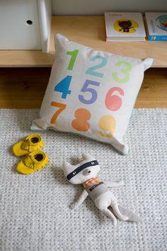 Numbers pillow by The Novogratz. Boy Room, Kids Room, Minimalist Parenting, Baby Nursery Decor, Kids Corner, Inspiration For Kids, Little Girl Rooms, Kids Decor, Kids Furniture