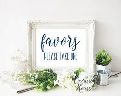 Printable Navy Blue Favors Please Take One Sign, Wedding Favor sign, printable wedding favors sign,wedding sign,Reception sign, favors, FP03 by OccasionHouse on Etsy