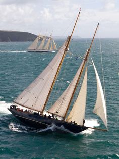 """Classic Gaff Schooner """"Mariette"""" and three masted schooner """"Adix"""" race for the Pendennis Cup."""