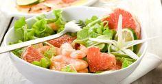 Recette de Salade légère de pamplemousse, crevettes et cacahuètes . Facile et rapide à réaliser, goûteuse et diététique.