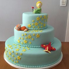 "Képtalálat a következőre: ""the little prince cake"" The Little Prince Theme, Little Prince Party, Just Cakes, Cakes And More, Fondant Cakes, Cupcake Cakes, Prince Birthday Theme, Decors Pate A Sucre, Prince Cake"