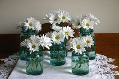 white daisies in blue mason jars - Google Search