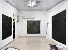 YOSEF JOSEPH DADOUNE Left:   11111/4444/WE, 2014-16 ( in progress )  Size: 143 X 184 CM   In the center:   Surface movement  2011 - 2014  120 X 120 CM  Primer 106, Mastic 244, Carbon Black Acrylic, Polish wax, water.     Right:  Black Ground, 2013 Technique : Bituminous mastic, acrylic, gesso on canvas Size: 197.5 X 197.5 CM   Hashfela street studio, TLV, 2014  Photographer:  Studio. MJM