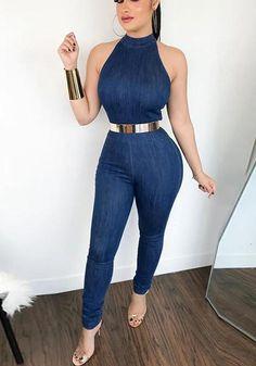 Halter Sleeveless Zipper Back Petite Jumpsuit - Buy Clothes Cl Fashion, Trend Fashion, Fashion Outfits, Womens Fashion, Latest Fashion, Style Fashion, Denim Romper, Denim Jumpsuit, Jumpsuit Outfit