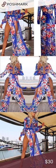 3ca543ca3ec2c SEXY SOPHISTICATED COVER UP Beautiful floral chiffon swimsuit cover up with  royal blue sash. Long