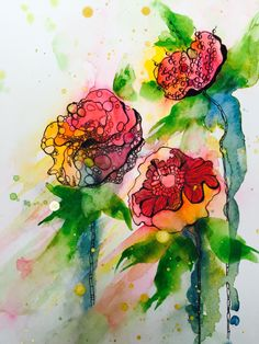 daily art : abstract #doodle flowers over a #watercolor background