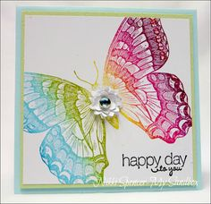 handmade card by my sandbox ... giant swallowtail in rainbow color array ... Nikki used reinkers to make a rainbow pad using Cut-n-Dry Foam from Ranger Industries ... gorgeous card!!! ... Stampin' Up!