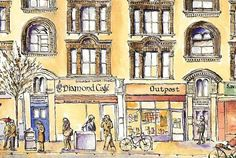 Bathurst Mansions & Hollywood Bistro, Holloway Road, London N7 - Drawing The Street