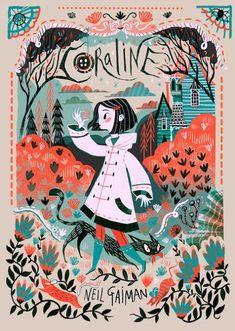 """Coraline"" by Neil Gaiman, illustration by Karl James Mountford und Poster Art And Illustration, Book Illustrations, Disney Illustration, Illustration Children, Character Illustration, Buch Design, Design Art, Design Ideas, Graphic Design"