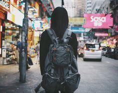 STREET VIBE バッグを一時的に交換したので僕のリュックを背負ってもらってます かわりに僕はミニショルダーを WHILE SHE CARRIES MY HUGE BACKPACK (by luvshan3)