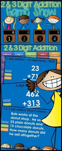 Two and three digit addition Jeopardy style game show.. by request!  Excellent practice for your 2nd and 3rd grade students. With 25 practice problems, in a game show setting, your students will get lots of review.   This request was for double digit addition with 2, 3, and 4 numbers.  I've also included some 3 digit addition AND some word problems. $  http://www.teacherspayteachers.com/store/Tiny-Toes