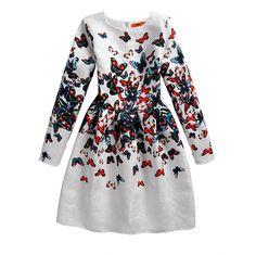 Winter Long Sleeve Wedding Sundress Dress For Girls Kids Brand, Wedding Sundress, Butterfly Dress, Butterfly Print, Butterfly Pattern, Formal Dresses For Teens, Girls Dresses, Party Dresses, Dresses Dresses