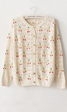 White Geometric Cherries Embroidery Hollow-out Acrylic Cardigan
