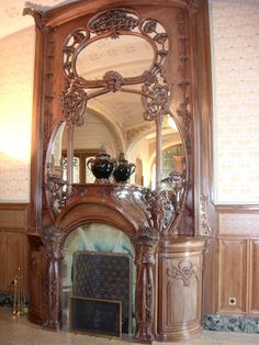 Beautiful Ornate Fireplace at the Villa Demoiselle - Reims