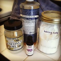DIY Shampoo  1/3 c castile soap, such as Dr. Bronner's) 1/3-2/3 c water (depending on how soapy you want it, I tend toward the lower end) 2 t. baking soda 1tsp. coconut oil, melted 5-15 drops essential oil, if desired