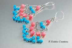 Pink Coral Chandelier Earrings Blue Turquoise by KGeddesCreations, $42.00