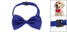 awesome 2PCS Adjustable Dog Polyester Collar Bowtie Royal Blue ST