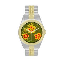 Pretty Artsy Flowers Two-Toned Watch