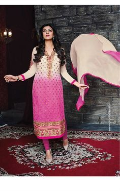 Picture of Lush Beige and Pink Salwar Kameez with Dupatta