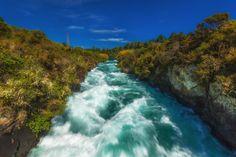 Waters rage at Huka Falls on the Waikato River, near Taupo, New Zealand