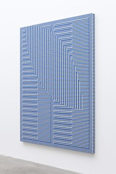 Tauba Auerbach | Shadow Weave - Comb/Void I 2013 | Woven canvas on wooden stretcher 60 x 45 inches