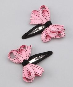 Take a look at this Pink & Black Clip Set by Bubbly Bows on #zulily today!