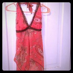 *Reduced Price* Sheer beaded halter, Very pretty! Heart & Soul top. Beaded accent, very sheer & light weight in excellent condition! Cute & trendy looks great: ) Tops