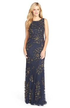 MOB Navy with Gold floral! Pisarro Nights PisarroNights Floral Embellished Mesh Gown available at #Nordstrom