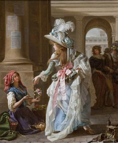A Fashionably Dressed Young Woman in the Arcade of the Palais Royal, Michael Garnier. Oil on canvas. Collection of Lynda and Stewart Resnick. Photo © 2010 Museum Associates/LACMA.