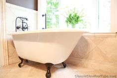 "Small Bathroom With Clawfoot Tub | 48"" Rolled Rim Cast Iron Clawfoot Tub 