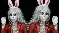 Alice in Wonderland: White Rabbit Makeup Tutorial Bunny Halloween Makeup, Rabbit Halloween, Easy Halloween Costumes, Alice In Wonderland Makeup, White Rabbit Alice In Wonderland, Wonderland Costumes, White Rabbit Makeup, White Rabbit Costumes, Alice Cosplay