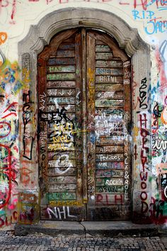 Colorful, graffiti doors in Prague, The Czech Republic. travel. doors of the world. Europe. urban art.