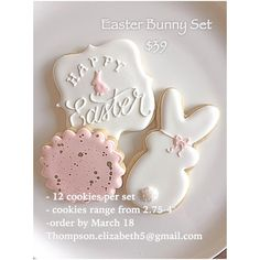 """Easter option #2! Perfect set for Easter brunch. One set minimum order (12 cookies). Order by March 18th! Thompson.elizabeth5@gmail.com…"""