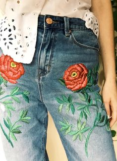 Hand Embroidered Denim by Tessa Perlow on Etsy