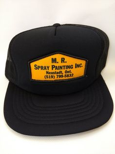 Vintage Trucker Hat Retro 1980s Black M. R. Spray Painting Inc. Neustadt  Ontario Canada Vintage Patches 8a3d358a1e2c