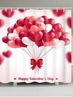 Heart Balloons Pattern Valentine's Day Waterproof Shower Curtain