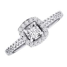 1 Ct D/VVS1 Engagement Halo Ring Round Cut Soild 10K White Gold Bridal Jewelry by JewelryHub on Opensky