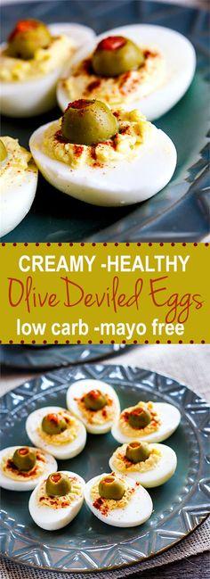 creamy greek yogurt deviled eggs with olives. Super healthy, mayo free ...