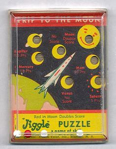 I love vintage hand-held dexterity puzzles . These three space themed versions are some of my favorites. Made in 1957 by Comon Tatar of New. Antique Toys, Vintage Toys, Pocket Game, Retro Robot, Smiling Man, Old Toys, Pinball, Outer Space, Card Games