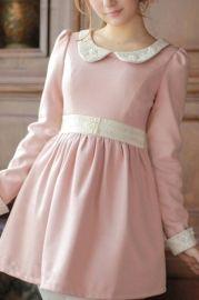 Sweet Peter Pan Collar Color Block Dress - Dresses
