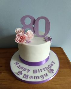A simple birthday cake from a few weeks ago... Vanilla sponge with a ganche coating and covered with icing. Decorated with a few sugar roses. #80thbirthday #birthdaycake #vanillacake