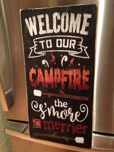 CAMPFIRE and smores wood sign by CraftsbyMartine on Etsy