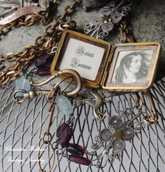 Saint Jeanne Locket--Vintage Assembled Gemstone French Souvenir Locket Silver Filigree Watch Chain NECKLACE