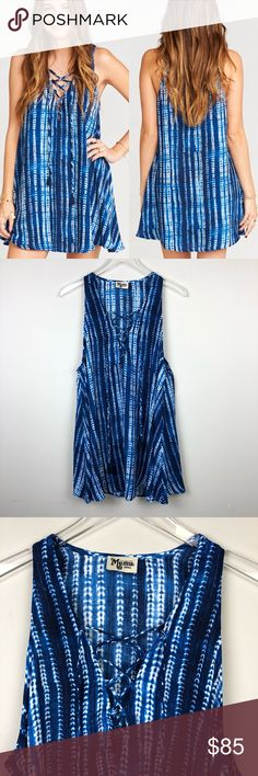"""Show Me Your Mumu   Rancho Mirage Lace Up Tunic S Rancho Mirage Lace Up Tunic Dress in Indigo Rajn. Sleeveless. Flowy fit. Lace up with tassels at end. Print looks like a tie dye.   ▪️Pit to Pit: 19"""" ▪️Length: 32"""" ▪️Condition: NWT. New.  ▫️A52 Show Me Your MuMu Dresses Mini"""