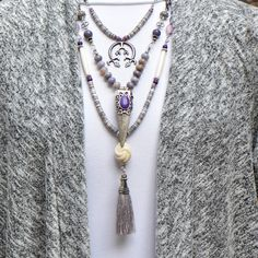 Lavendar collection of necklaces in a variety of lengths can be worn individually or stacked for bigger impact. Vintage Light Bulbs, Tassel Necklace, Necklaces, Boho, Stone, Earrings, Accessories, Collection, Jewelry