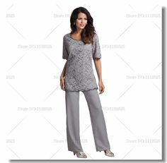 Find More Mother of the Bride Dresses Information about Cheap Gray Lace And Chiffon Two piece mother of the bride pant suits Plus size,High Quality pants motorcycle,China pant definition Suppliers, Cheap suit tie from Mother of the Bride Special Occasion Wear  on Aliexpress.com