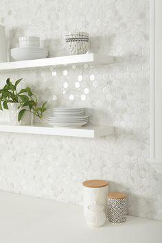 White Kitchen Backsplash, Kitchen Redo, Home Decor Kitchen, Home Kitchens, White Tile Backsplash Kitchen, Contemporary Kitchen Backsplash, Condo Kitchen Remodel, Ceramic Tile Backsplash, Kitchen Backsplash White Cabinets